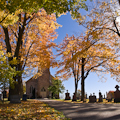 Church, Graveyard, Autumn